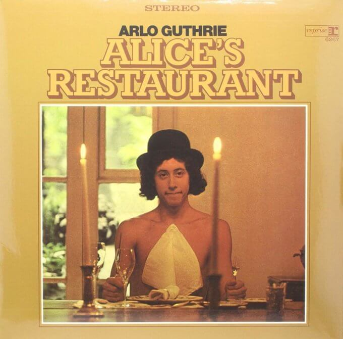 "The cover of Arlo Guthrie's 1967 album, ""Alice's Restaurant."""